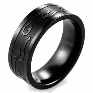 Fish Hook Black Ring